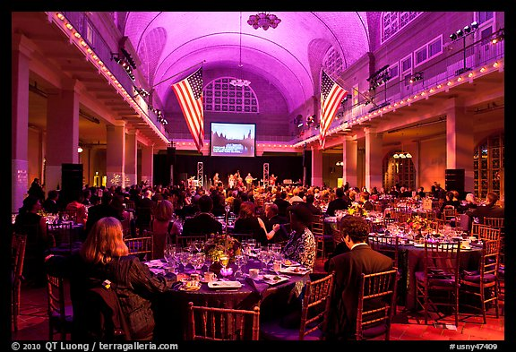 Gala dinner inside Main Building, Ellis Island. NYC, New York, USA (color)