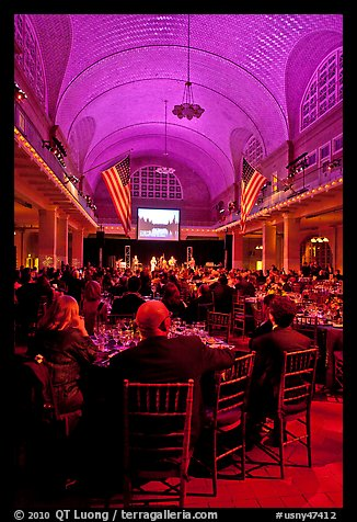 NPCA gala inside Immigration Museum, Ellis Island. NYC, New York, USA (color)