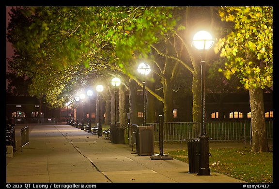 Row of lights by night, Ellis Island. NYC, New York, USA (color)