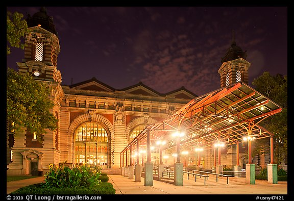 Main Building by night, Ellis Island. NYC, New York, USA (color)