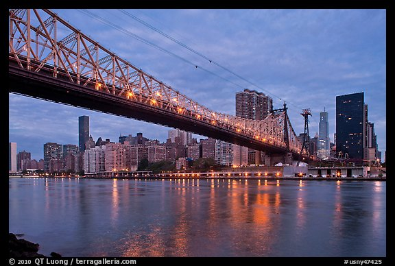 Queensboro bridge and Manhattan at dawn. NYC, New York, USA (color)