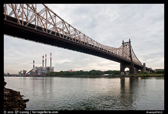 Queensboro bridge and power station. NYC, New York, USA (color)