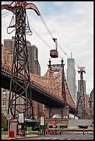 Roosevelt Island, Queensboro bridge, and tramway. NYC, New York, USA (color)