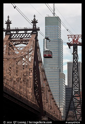 Roosevelt Island Tramway and Queensboro bridge. NYC, New York, USA (color)