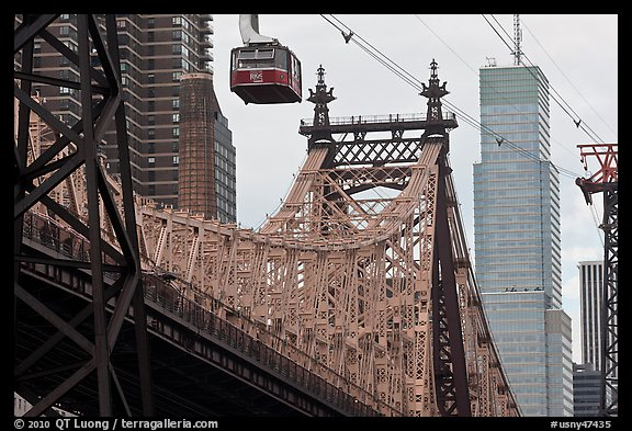 Aerial tramway car and Queensboro bridge. NYC, New York, USA (color)