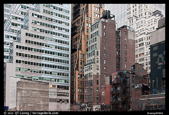 Vintage high-rise buildings, Manhattan. NYC, New York, USA (color)