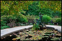 Pool and sculpture inspired by children South Garden. NYC, New York, USA (color)