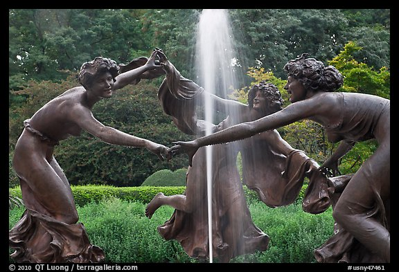 Three Dancing Maidens sculpture and fountain, Central Park. NYC, New York, USA (color)