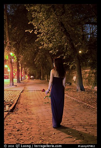 Woman in evening dress with rose on alley bordering Central Park at night. NYC, New York, USA (color)