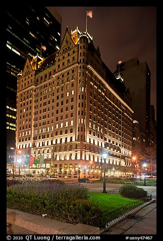 Plaza Hotel at night. NYC, New York, USA (color)