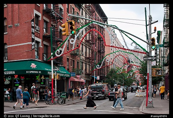 Little Italy street. NYC, New York, USA (color)