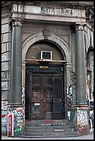 Door of old building on Bowery. NYC, New York, USA ( color)