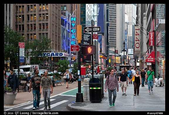 Pedestrian plazas on street near Times Squares. NYC, New York, USA (color)