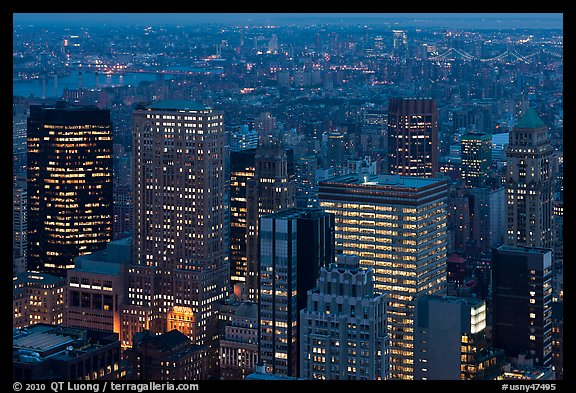 Manhattan towers at dusk from above. NYC, New York, USA (color)
