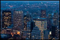 Manhattan towers at dusk from above. NYC, New York, USA ( color)