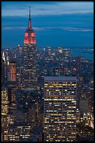 Empire State Building and skyline at night. NYC, New York, USA ( color)