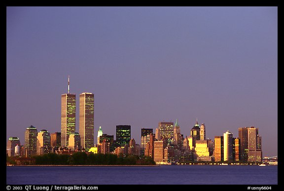 South Manhattan and WTC at dusk. NYC, New York, USA (color)