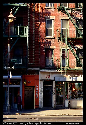 Street in Chinatown. NYC, New York, USA (color)