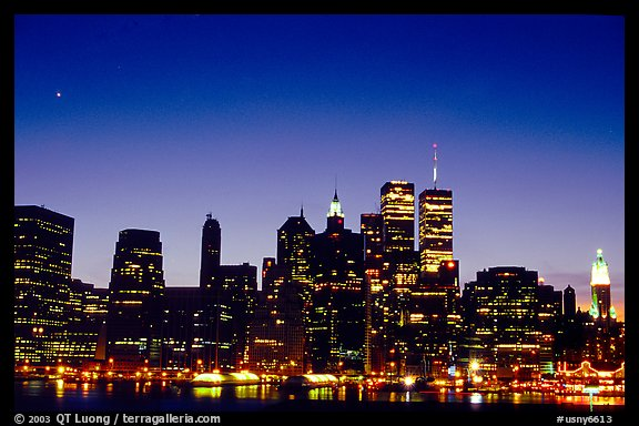 South Manhattan and WTC from Brooklyn, dusk. NYC, New York, USA (color)