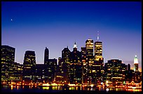 South Manhattan and WTC from Brooklyn, dusk. NYC, New York, USA ( color)