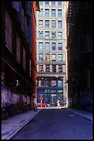 Narrow street. NYC, New York, USA (color)