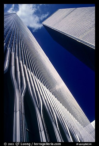 Looking up the World Trade Center. NYC, New York, USA (color)