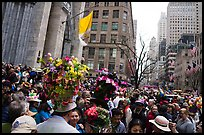Fifth Avenue filled with revelers on Easter. NYC, New York, USA ( color)