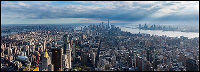 Manhattan with Freedom Tower from Empire State Building. NYC, New York, USA (Panoramic color)