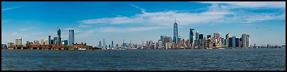 New York Harbor with Jersey City and Manhattan skylines. NYC, New York, USA (Panoramic color)