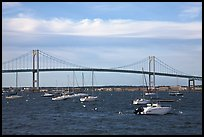 Claiborne Pell Newport Bridge over the East Passage of the Narragansett Bay. Newport, Rhode Island, USA (color)