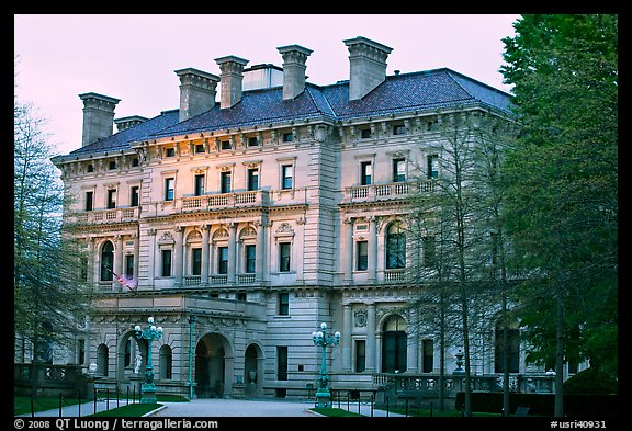 Breakers mansion, largest in Newport, at dusk. Newport, Rhode Island, USA (color)