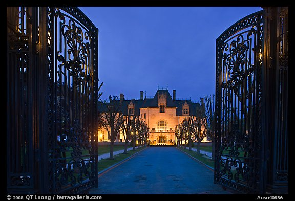 Entrance gate and historic mansion building at night. Newport, Rhode Island, USA (color)