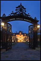 Entrance gate and Salve Regina University at night. Newport, Rhode Island, USA ( color)