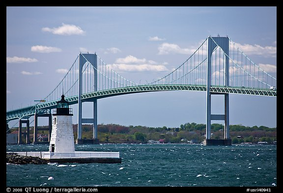 Newport Harbor lighthouse, Newport Bridge, and Narragansett Bay. Newport, Rhode Island, USA