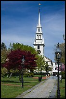 Park and white-steepled church. Newport, Rhode Island, USA (color)
