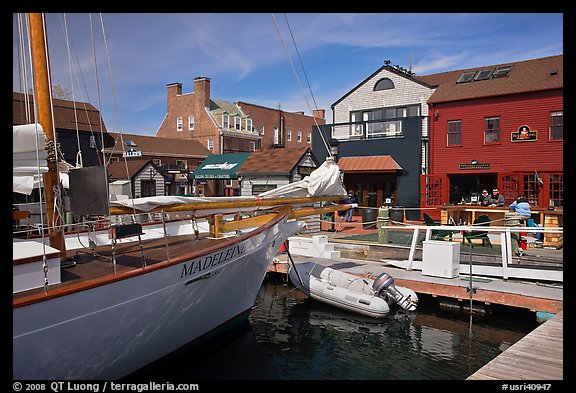 Harbor and shops. Newport, Rhode Island, USA (color)