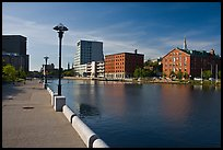 Riverside quay and walkway. Providence, Rhode Island, USA (color)