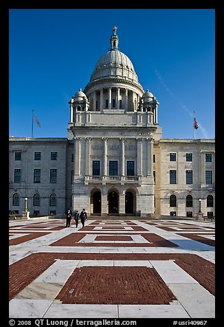 Plazza and Rhode Island State House, late afternoon. Providence, Rhode Island, USA (color)