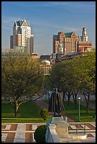 Statue of State House grounds and downtown buildings. Providence, Rhode Island, USA (color)