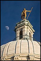 Moon, Dome and gold-covered bronze statue of Independent Man. Providence, Rhode Island, USA