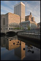 Downtown buildings reflected in Seekonk river. Providence, Rhode Island, USA ( color)
