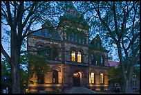 Sayles Hall framed by trees at dusk, Brown University. Providence, Rhode Island, USA ( color)