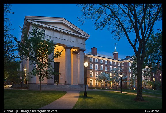 Manning Hall and  University Hall by night, Brown University. Providence, Rhode Island, USA (color)