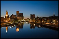 Wide view of downtown buildings reflected in Seekonk river at dusk. Providence, Rhode Island, USA ( color)