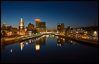 Downtown Providence reflected in Seekonk river at night. Providence, Rhode Island, USA