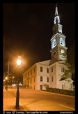 White-steppled Church and lamp at night. Providence, Rhode Island, USA (color)