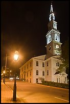 White-steppled Church and lamp at night. Providence, Rhode Island, USA