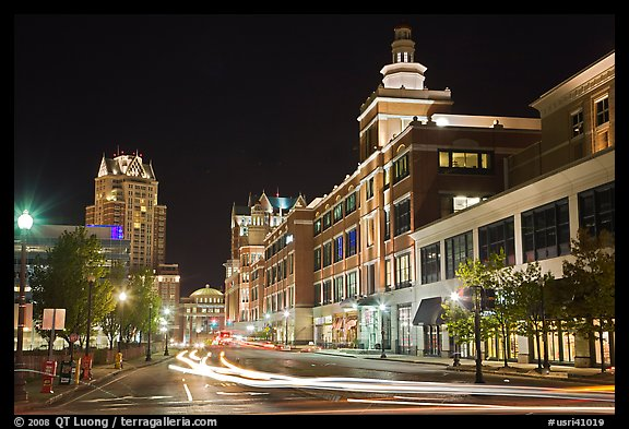 Street in downtown at night. Providence, Rhode Island, USA (color)