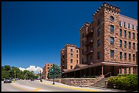 Sandstone buildings, Hot Springs. Black Hills, South Dakota, USA (color)