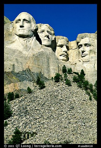 Faces of Four US Presidents carved in stone, Mt Rushmore National Memorial. South Dakota, USA (color)